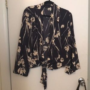 Zara Navy Abstract Floral Tie Front Top